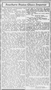 "Screenshot of ""Southern States Given Impetus,"" an article in the Journal and Tribune, a Knoxville, Tennessee newspaper."