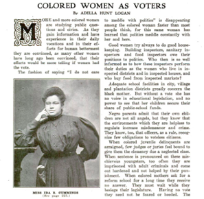 Essay titled COLORED WOMEN AS VOTERS, with an inset photo of the author, a black woman with her hair pulled high. She is resting her chin on her hand, and wearing a long dark dress with billowy sleeves.