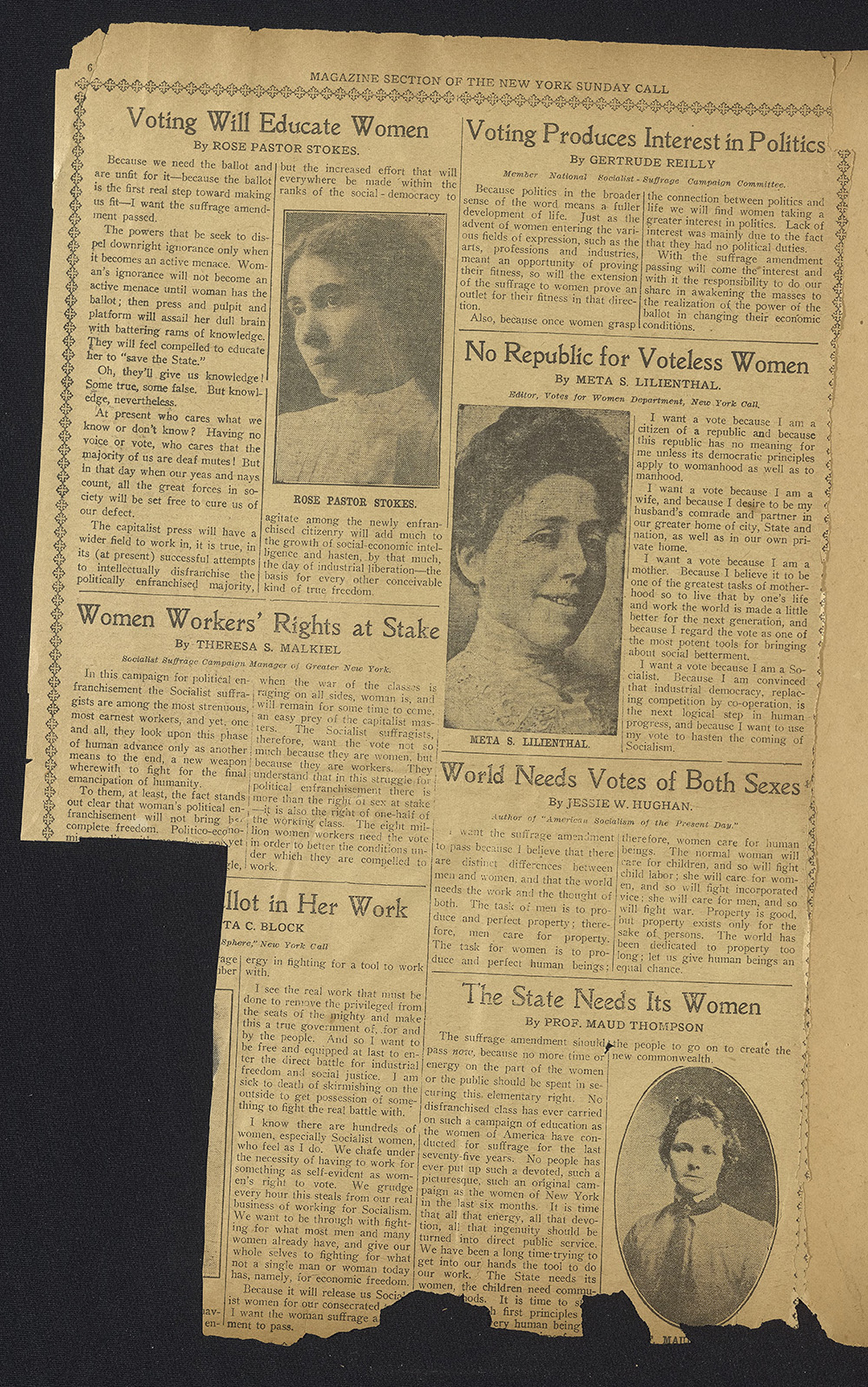 Newspaper clipping circa 1915 - Anne Sullivan Macy's scrapbook. All the articles are in support of women's suffrage, and three include black and white portraits of their authors, all white women.